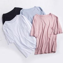 Summer Bamboo Cotton Tshirt Pure Color Tops with Pocket Women Short Sleeve Round Collar T-shirt Clothing Korean Fashion