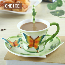 Bamboo Butterfly Coffee Cup And Plate Set Couple Creative Continental Bone China Afternoon Tea Cup Valentine Gift Items Mug(China)