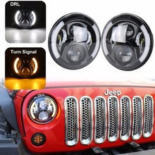 7 inch led headlight H4 H13 with halo Angel eyes DRL led projection Lens for Jeep Wrangler JK TJ Lada Niva Hummer Motorcycle(China)