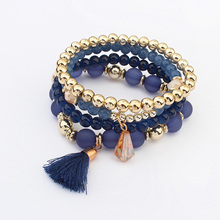 4 pcs/set Ethnic Bohemia Beads Tassel Multilayer Bracelets Colorful Simple Fashion Jewelry For Women Wholesale