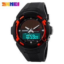 2017 New Solar Energy Watch Men's Digital Sports LED Watches Men Solar Power Dual Time Sports Digital Watch Men Military Watches