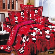 red mickey mouse bedding sets cartoon children's quilt/duvet cover sets 3/4pc Egyptian cotton single/full/queen/king comforter