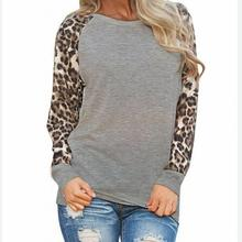 2017 Summer fashion Leopard print shirt chiffon long sleeve women tops basic shirt feminine casual large size blusas#Y252