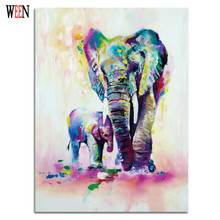 Elephant Family Pictures Watercolor Paintings Abstract Wall Art Animal Canvas Print Arts Cuadros Decoracion Poster and Printed
