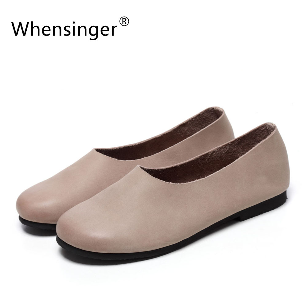 Whensinger - 2017 Woman Summer Shoes Cow Leather Flats Elegant Fashion Style F009-1<br>