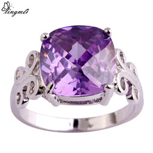 lingmei New Lady Princess Cut Purple  Silver Color Ring Size 7 8 9 10 Fashion Popular Purple Jewelry Women Party Rings Wholesale
