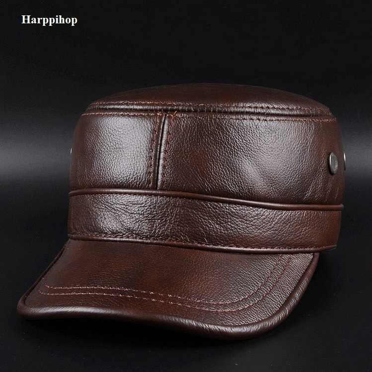 4d7287d56dc Autumn winter cowhide hat male flat cap Leather Men s outdoor leisure leather  hat cap