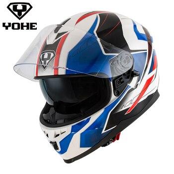 YOHE Casque 2017 Nouveau Style ABS Shell Unisexe Moto Casque Double Visières et Double Bouclier ECE Certificat Flip Up Casque 967