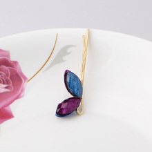 New Arrival Popular Two Leaves Hair Clips Vintage Imitation Leaf Gold Plated Hairpins Side Clip Accessories Barrettes(China)