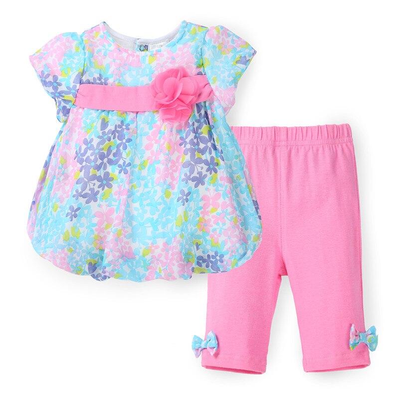 2017 Summer Girls Clothes Floral Kids Top Suits Chiffon T shirt + Capri Pants 2 PCS Boutique Short Baby Girls Clothing Sets<br><br>Aliexpress