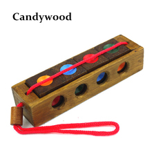 Wooden Toy Unlock Color C Puzzle Classical Funny Kong Ming Lock Toys Intellectual Educational For Children Adult