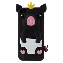 Dulcii Crown Pig Silicone Cute Cover Case for iPod Touch 5(China)