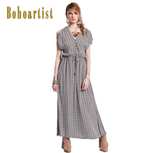 Bohoartist Summer Long Dress Plaid Coffee Drawstring Button Back Split V-Neck Tie Batwing Sleeve Beach Wear Boho Maxi Dresses(China)