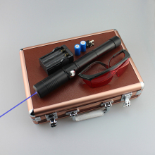Moobom Blue Laser Pointer 450nm 5000mw High Power Burning Beam Laser Pen With 2*18650 Battery And Charger Goggles T2