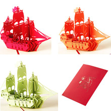 3D Pop Up Greeting Card Sailing Ship Christmas Birthday Thank you Valentine Card Wedding invitations
