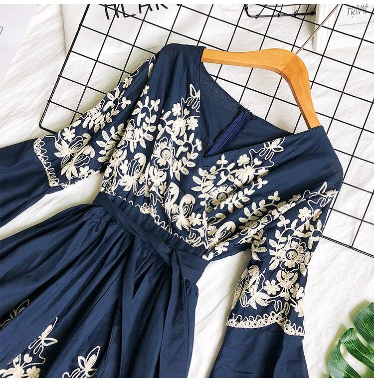 2019 Spring Summer V-neck Embroidery Dress Flare Sleeves Bohemian Dress Belted Ethnic Loose Vintage Dress 62