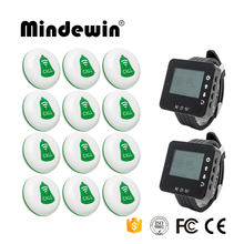 Mindewin Pager Restaurant Wireless Waiter Call Server Paging System 12PCS Call Button M-K-1 + 2PCS Watch Pager M-W-1