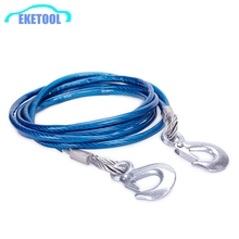 New Heavy Duty Tow Ropes 4M 5Tons Wire Cable High Strength Safety Hook Steel Wire Trailer Car Emergency Towing Rope High Quality
