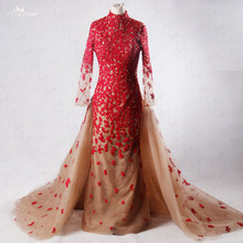 RSW955 Long Sleeve Lace Mermaid High Neckline Nude Tulle Red Wedding Dresses Removable Skirt(China)
