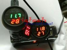 by dhl or ems 200pcs Universal 3in1 Digital Voltmeter Thermometer 12/24V Cigarette Lighter USB Car Charger best quality