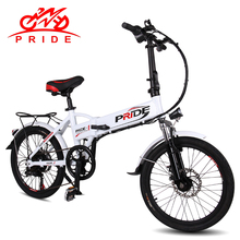 PRIDE Electric bike 48V 10ALithium Battery Aluminum Alloy Folding electric Bicycle 250W 20 inch 6Speed gear Electric Snow bike(China)