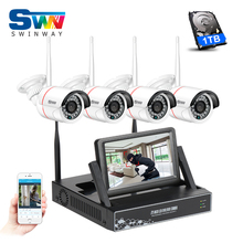 New Listing Plug and Play 4CH CCTV System Wireless 7Inch LCD Screen NVR Kit P2P 960P HD Outdoor Security Wifi IP Camera 1TB HDD