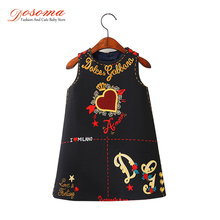 Dosoma Autumn Baby Dress Clothes Brand Princess Kids Dresses For Girls Letter Embroidered Sleeveless Dress Children Clothing