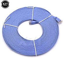 Newest Hot Sky Blue 15m CAT6 Flat UTP Ethernet Network Cable RJ45 Patch LAN Cable For Router DSL Modem laptop office(China)