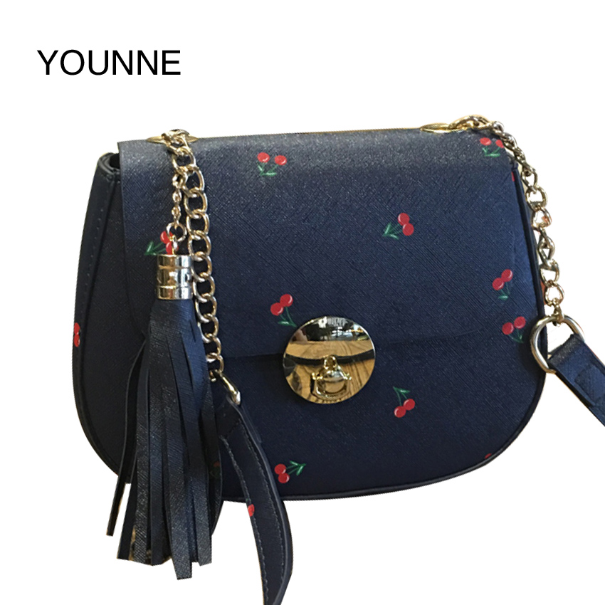 YOUNNE Lock Soft Leather Ladies Cross Body Bags Fringed Girl Fashion Female Shoulder Bag Black Bolsa Feminina Handbags Women Bag<br>