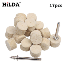 HILDA 17pcs Wool Felt Polishing Buffing Wheel Grinding Polishing Pad+2Pcs 3.2mm Shanks for Dremel Rotary Tool Dremel Accessories