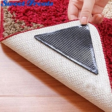 Sweettreats 4pcs Rug Carpet Mat Grippers Non Slip Reusable Washable Silicone Grip(China)