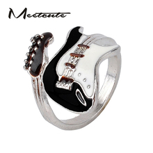 Meetcute Personalized Style Punk Style Bright Colorful Glazed Guitar Ring White And Black Ring Musical Tools Bijoux Jewelry