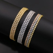 2017 luxury Adjustable Tennis Bracelet Three Row paved AAA clear Cubic Zirconia Tennis slider Bracelet for Lady