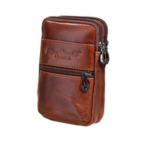 2017 New Men Oil Wax Genuine Leather Vintage Travel Cell/Mobile Phone Cover Case Belt Hip Bum Pouch Purse Fanny Pack Waist Bag