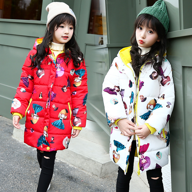 2017 New Winter Clothes for Girls Hooded Long Warm Cotton Padded Coat Cute Cartoon Printed Girls Outerwear<br>