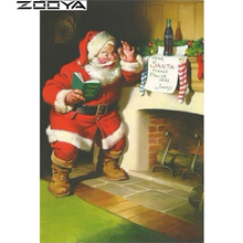 ZOOYA Diamond Embroidery Chimney Santa Claus Handmade Diamond Painting Diamond Mosaic Round Diamond Cross Stitch Christmas R118