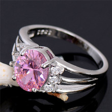 Atreus Trendy Wholesale Pink Alluring 1pc Silver Color CZ Newest Jewelry Gift For Woman's Ring Size 6 7 8 9 10(China)