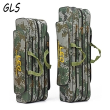Portable Folding big space Fishing Rod Bag Canvas Fishing Pole Lure Storage Bag Multifunction Fishing Tackle Bags(China)