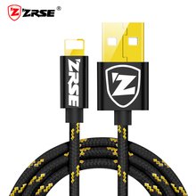 ZRSE USB Cable for Apple iPhone 1M 2M 3M Fast Charging Data Sync Cable Nylon Braided Mobile Phone Charger Cord Cables for iPad(China)