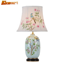 Chinese Style Cer Ceramic Table Lamps for Bedroom 110V ~ 240V Hand-painted Shade E27 40W Movable Lamps Indoor Bedside Lamp(China)