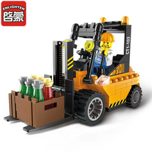 Enlighten Brick City Series Forklift Building Block Sets Bricks Compatible Toys Gifts For Children Kids(China)