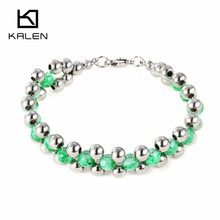 Kalen Bohemia Green Glass Beads Bracelets For Women Ethnic Stainless Steel Silver Beads Girls Bracelet Cheap Femme Jewelry Gifts(China)
