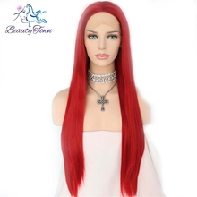 Beauty Town Handtied High Temperature Fiber Hair Red Color Straight Cospaly Wig Heat Resistant Synthetic Lace Front Party wig(China)