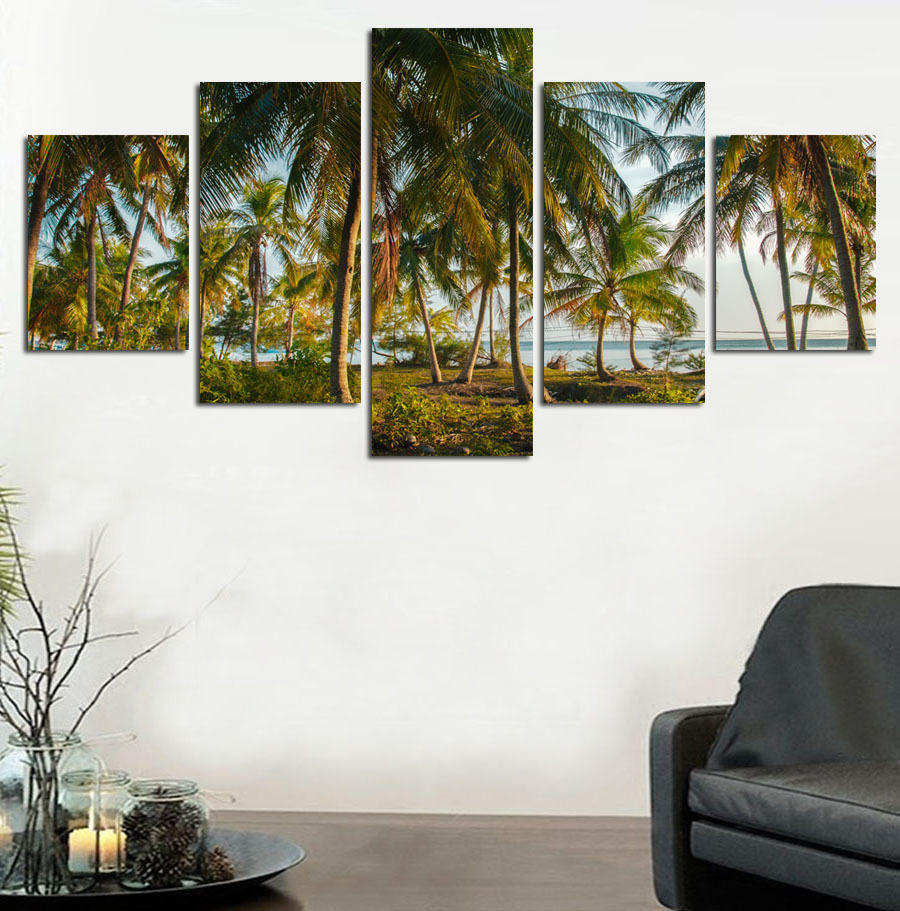 Home-Decor-Canvas-HD-Prints-Poster-Living-Room-Unframe-5-Pieces-Beach-Coconut-Tree-Seascape-Paintings (2)