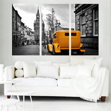 Mordern Art Canvas Painting Yellow Car Wall Art Home Decoration London Road Scenery Oil modular pictures for Room Art Work Frame(China)