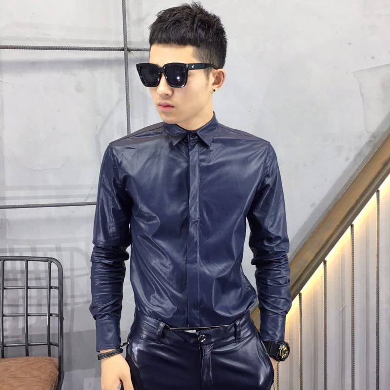 S-5XL 2018 New Men's clothing Hair Stylist GD high quality PU fashion slim leather shirt PLUS SIZE singer costumes
