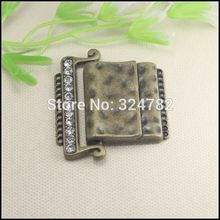 10pcs Antique Bronze Tone Crystal Rhinestones Strong Magnetic Clasp Belt Buckle for Leather CORD jewelry findings