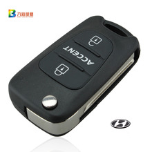 3 Buttons Flip Folding Remote Key Shell Case for Hyundai Accent Keyless Entry Fob Cover Car Alarm Housing with LOGO