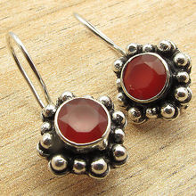 Well Made Expensive-Looking Earrings !! Silver Plated Red CARNELIAN Jewelry 2.2cm(China)