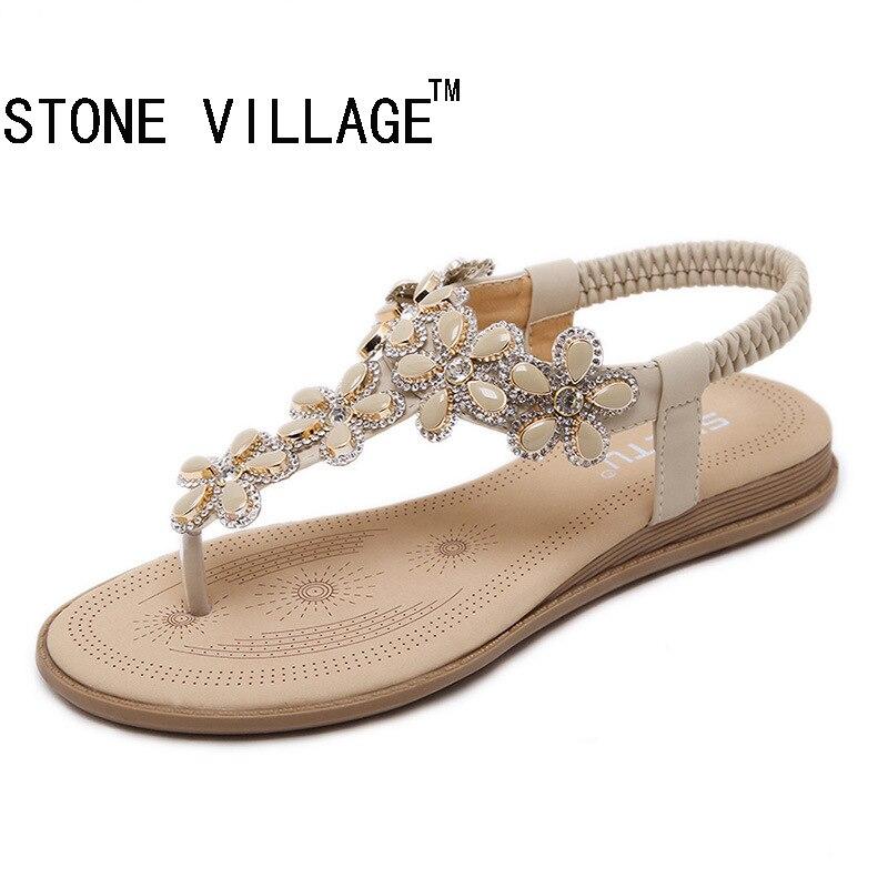 New Arrival 2017 Women Sandals Beaded Ladies Flip Flops Bohemia Woman Shoes Comfort Beach Summer Flat Sandals Flat Shoes Woman<br><br>Aliexpress